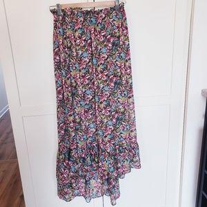 Joie high low skirt sheer floral pattern medium